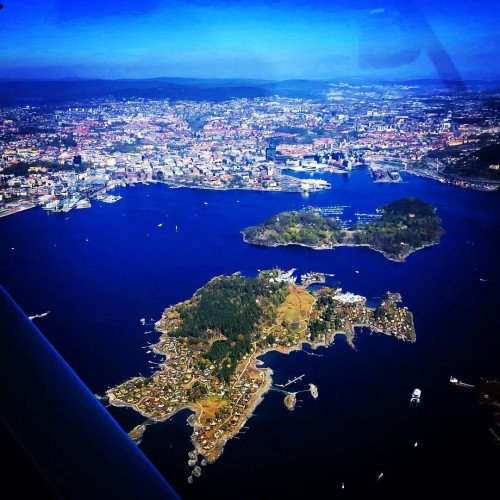 Flying over Oslo in Norway, take off from Kjeller