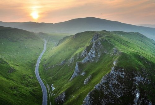 Peak district from above, national park